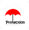 protection title texts with the red umbrella vector image