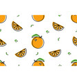seamless pattern orange icons isolated on white vector image vector image