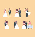 set just married man woman standing together vector image vector image