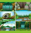 set of forest background vector image