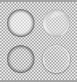 set of glass lens on transparent background vector image vector image