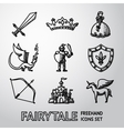Set of hand drawn fairytale game icons vector image vector image