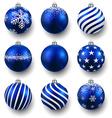 Set of realistic blue christmas balls vector image vector image