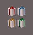 set of white gift boxes with ribbon bows vector image vector image