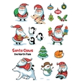 set santa claus with animals vector image vector image