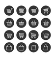 Shopping baskets thin line icons set