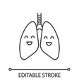 smiling human lungs linear icon vector image vector image