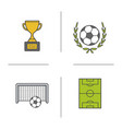 soccer championship color icons set vector image
