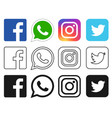 social media icon for facebook whatsapp vector image vector image