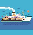 steam ferry boat on seaside flat scene vector image
