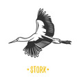 stork black and white object vector image vector image
