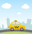 Taxi on city background vector image vector image