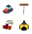 tractor corkscrew and other web icon in cartoon vector image vector image