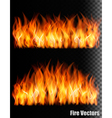 Two banners with fire on black background vector image vector image