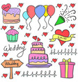 various element wedding party in doodles vector image vector image