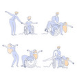 wheelchair dance disabled people dancing set vector image