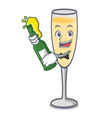 with beer champagne mascot cartoon style vector image