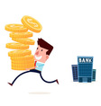 withdraw saving from bank vector image vector image