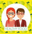 young couple with pears healthy food vector image vector image