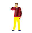 Referee with whistle and red card vector image