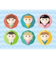 Set of round avatars different boys and girls vector image