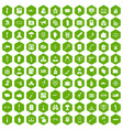 100 violation icons hexagon green vector image vector image