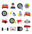 automobile parts wheels and tires service of cars vector image