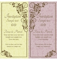 Baroque wedding invitation pink and yellow vector image vector image