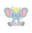 bashower cute elephant sitting with hearts love vector image vector image