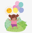 beauty girl game with balloons and bushes vector image vector image