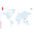 blue world map with magnifying on singapore vector image vector image