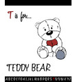 cartoon of capital letter t with teddy bear vector image vector image