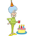 Cartoon senior citizen lady with a birthday cake vector image vector image