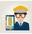 cartoon taxi driver online service vector image