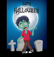 cartoon zombie with halloween background vector image vector image