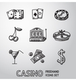 Casino gambling freehand icons set vector image vector image