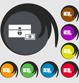 chest icon sign Symbols on eight colored buttons vector image