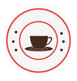 circular frame with with cup coffee vector image