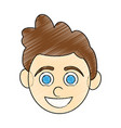 color pencil caricature front face boy with vector image vector image