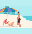 couple taking sunbath on beach vector image
