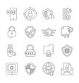 data privacy icons set included the icons vector image vector image