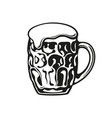 dimpled glass beer mug hand drawn vector image vector image
