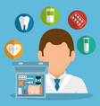 doctor with medical equipment vector image vector image