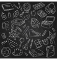 doodle icons collection school supplies vector image vector image