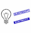 electric bulb mosaic and grunge rectangle seals vector image vector image