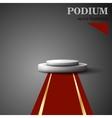 Empty white podium on gray background vector image vector image