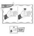find 9 differences game hand of a student vector image vector image