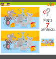 find differences game with mice animal characters vector image vector image