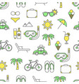 flat line art summer seamless pattern vector image vector image