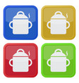 four square color icons cooking pot with smoke vector image vector image